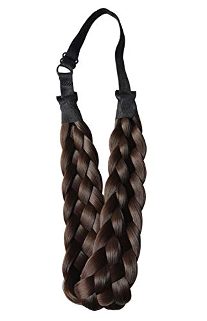 Coolcos Elastic Synthetic Chunky Hair Braid 5 Strands Braids Hair Headbands Plaited Braided Headband 4A Dark Brown