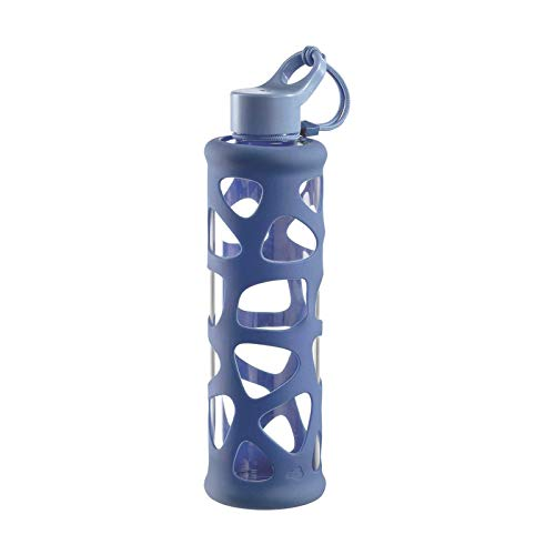 Leonardo Trinkflasche In Giro 700 ml, To Go, Borosilikatglas, Schutzhülle, spülmaschinenfest, stoßfest blau,029242