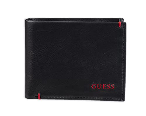 Guess Men's Leather Slim Bifold Wallet, Julian Black/Red, One Size