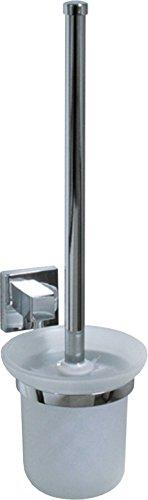 Fackelmann Toilettenbürste mit Halter MARE, WC-Garnitur, WC-Bürste mit verchromter Wandhalterung (Farbe: Silber/Milchig), Menge: 1 Stück