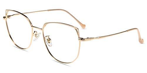 Firmoo Occhiali Occhio di Gatto Luce Blu Bloccanti per il Mal di Testa il Blocco della Cefalea UV, Occhiali Computer Donna (Lettura +0.00, Oro)