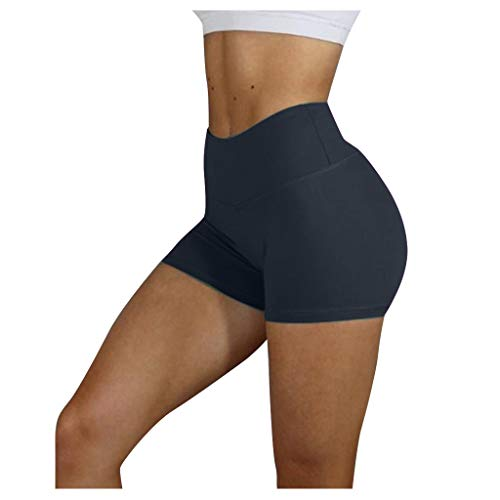 KUDICO Damen Shorts Hotpants Hohe Taille Fitness Kurze Leggings Yogahose Sporthose Laufhose Training Tights (Schwarz,M)