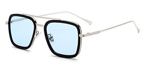 LHSDMOAT Sonnenbrille für Herren Damen, Retro Tony stark Sonnenbrille, Vintage Spider Man Edith Brille Rechteck Metallrahmen Nerd Brille Deko Brillenfassungen