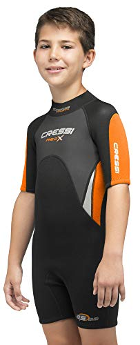 Cressi Unisex-Kinder Med X Jr Wetsuit 2.5mm Shorty Neoprenanzug Ideal zum Schnorcheln und Tauchen in gemäßigten Gewässern, Schwarz/Orange, L (12/13 Jahre)