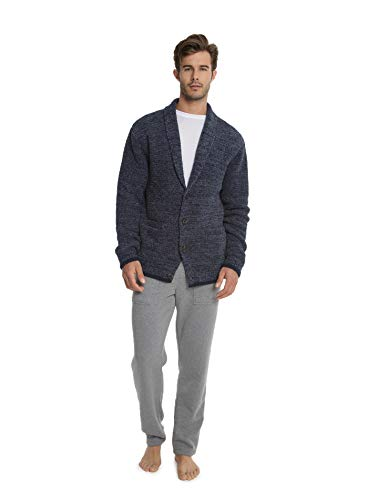 Barefoot Dreams CozyChic Men's Shawl Collar Cardigan, Menswear Fashion Sweater Pacific Blue