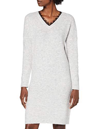 VERO MODA Damen VMIVA LS V-Neck Dress Color Kleid, Light Grey Melange/Detail:W. Black LACE, S