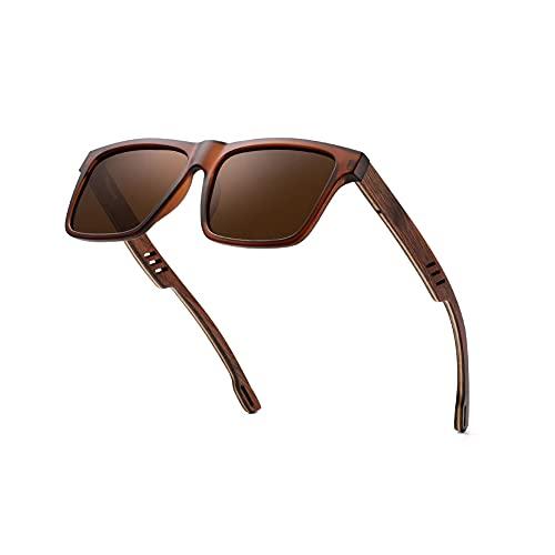 Gafas de sol de madera ultraligeras polarizadas para hombres y mujeres madera real retro UV400 protección sol vidrio