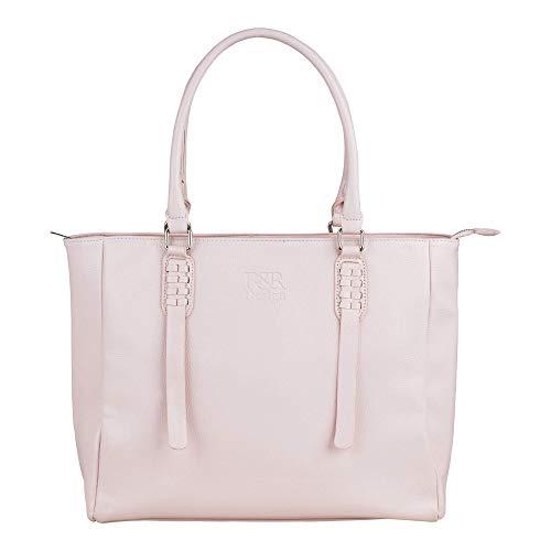 R&R Design Leder Handtasche fuer Damen - geräumige Designer-Handtasche für den Alltag - 5 integrierte Taschen - 42 x 30,5 x 10x5 - ideale Schultertasche mit angenehmen Bügeln (Pink)