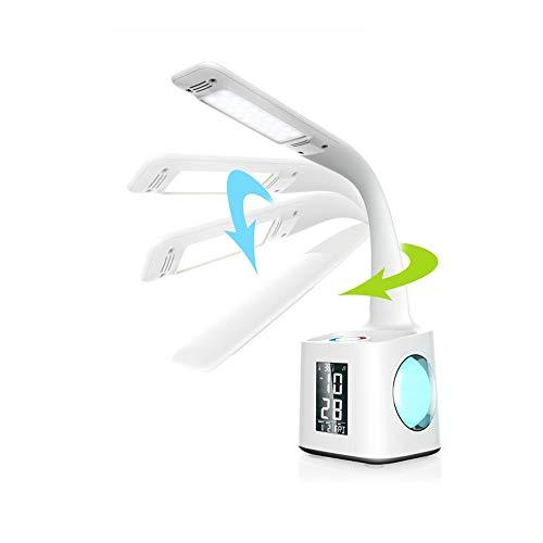 Studie LED-Schreibtischlampe mit USB-Ladeanschluss & ScreenCalendar & ColorNight Licht, Kinder dimmbare LED-Tischlampe mit Stifthalter & Alarmclock-Desk-Leselicht for Studenten 10W