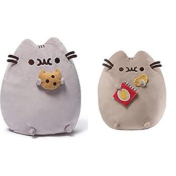 GUND Pusheen Snackables Cookie Plush Stuffed Animal Cat 9.5  & Pusheen Snackables Potato Chip Cat Plush Stuffed Animal Gray 9.5