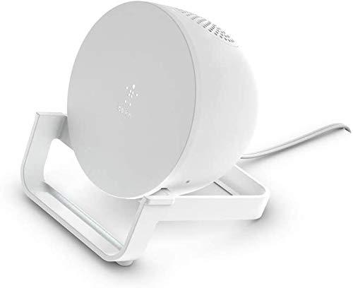 Belkin drahtloser BoostCharge Ladeständer, 10 W mit Bluetooth Lautsprecher (schnelles drahtloses Ladegerät mit Speaker für das iPhone und Geräte von Samsung und Google, integriertes Mikrofon, Weiß)