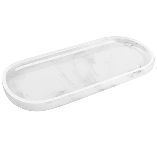 Luxspire Bathroom Vanity Tray, Toilet Tank Oval Storage Tray, Resin Handmade Bathroom Bathtub Kitchen Dresser Countertop Organizer for Soap Shampoo Candles Towel Plant Jewelry Ring Dish - White Marble