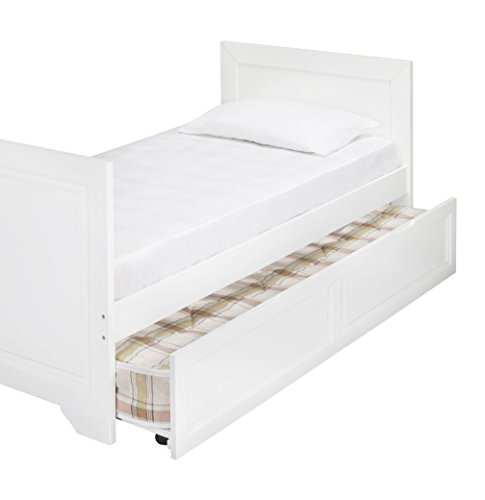 Kids childrens westport daybed trundle pull out guest bed white wood bed frame (white, wood)