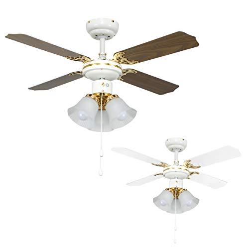 MiniSun - Ventilatore moderno da soffitto 'Imperial' - 3 luci e pale reversibili (bianco/legno) - 91cm con finitura bianca e d'ottone
