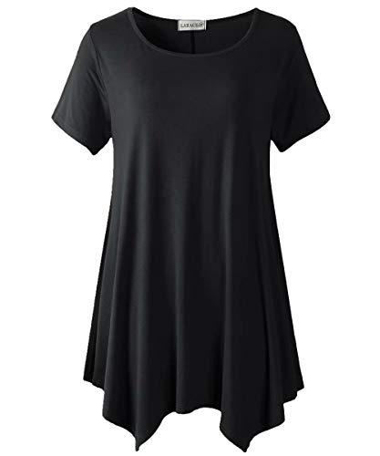 LARACE Womens Swing Tunic Tops Loose Fit Comfy Flattering T Shirt Black