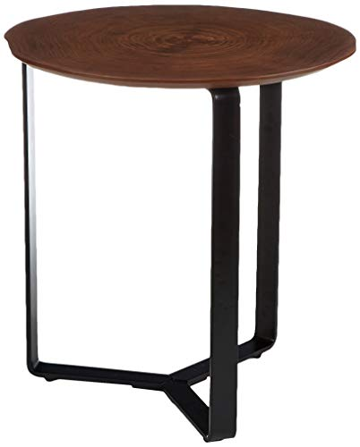 Amazon Brand - Rivet End/Side Table, 48 x 51 x 54 cm, Walnut Table Top/Black metal Frame