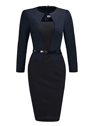 MisShow Damen Elegant Etuikleider mit 3/4 Arm Midikleider Business Kleider Navyblau Gr.M