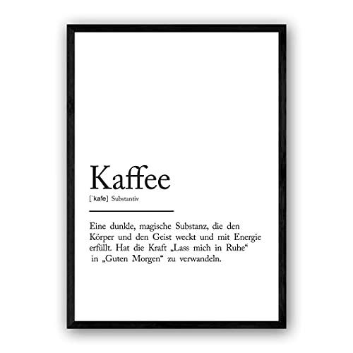Zertify Definitions Poster: Kaffee | 20 x 25 cm | Zitat Poster mit Worterklärung wie im Duden für Deine Wanddeko | Perfekt als Badezimmer, Küche & Wohnzimmer Deko | Ohne Rahmen