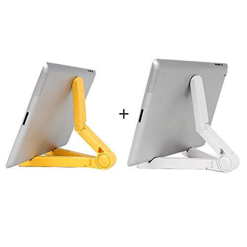 Yinaa Soporte del Teléfono Soporte Movil Mesa Soporte Tablet Mesa Universal Compatible con Todos Los Smartphones y Todas Las Tablets Stable Non Slip Silicone White + Yellow