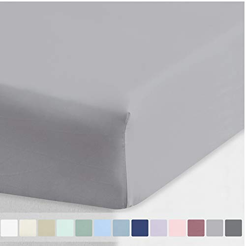 600-Thread-Count Sheet Cal King Size - Light Grey Long Staple Combed Cotton Fitted Bedsheet Only, Soft Silky Sateen Weave Deep Pocket Bottom Sheet
