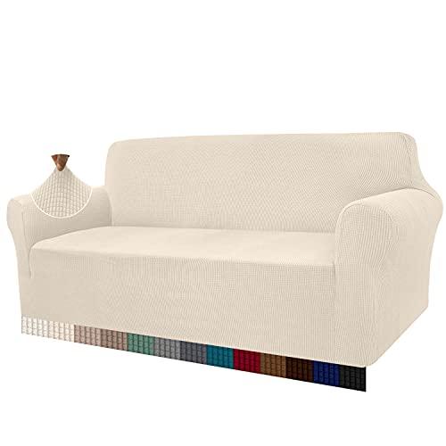 Granbest Hoch-Stretch-Sofabezug für 3-Sitzer, super weich, stilvolle Couch-Bezüge für Hunde und Katzen, Jacquard-Spandex, rutschfest, Sofa-Schonbezug für Wohnzimmer-Möbelschutz (3-Sitzer, Beige)