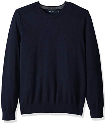 Nautica Men's Crew Neck Lightweight Sweater, Navy, Large
