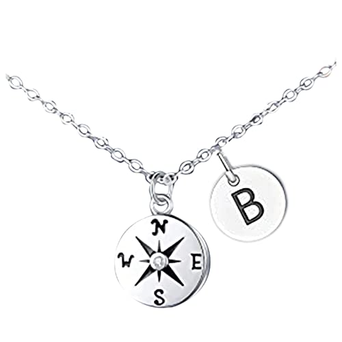 Inspirational Gifts Compass Necklace, Luck Silver Initial Letter Necklace Compass Pendant Necklace for Women Lady Graduation Friendship Gifts for Her