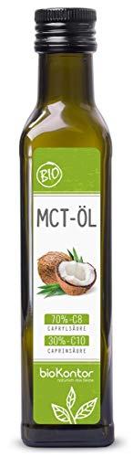MCT-Öl aus 100% Bio-Kokosöl 250ml | 70% Caprylsäure C8 und 30% Caprinsäure C10 | rein mechanisch hergestellt - bioKontor