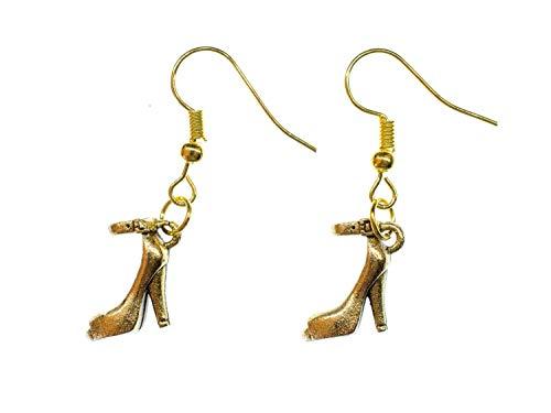 Miniblings Pumps mit Riemchen Ohrringe Hänger Stöckelschuhe High Heels gold - Handmade Modeschmuck I Ohrhänger Ohrschmuck vergoldet