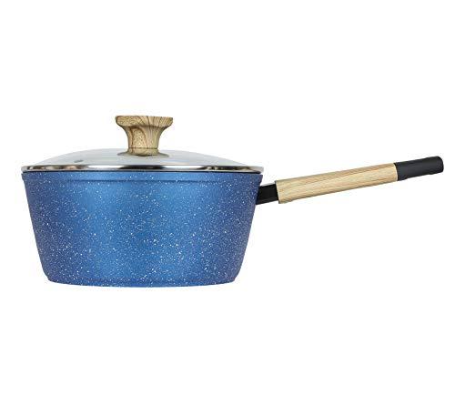 Art of Cooking 3 Quart Granite Nonstick Saucepan Cookware Set (Induction Compatible) (Ocean Blue)
