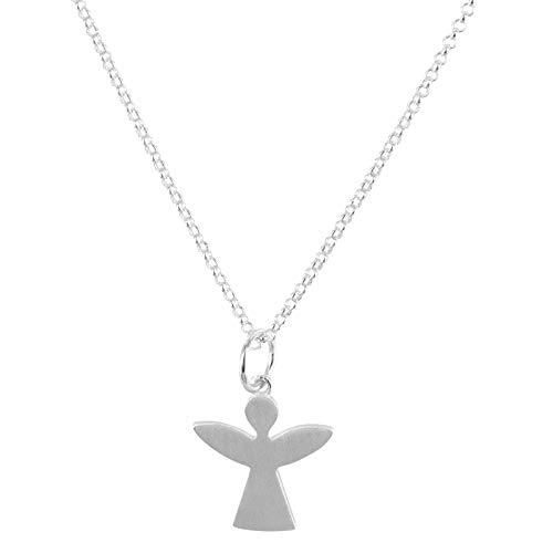 Laimons Damen-Halskette Anhänger Schutzengel Engel 21mm matt mit Glieder-Kette EngelsKette 45cm Talisman Damenkette aus Sterling Silber 925