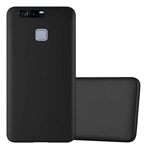 Cadorabo Custodia per Huawei P9 Plus in Nero Metallico - Morbida Cover Protettiva Sottile di Silicone TPU con Bordo Protezione - Ultra Slim Case Antiurto Gel Back Bumper Guscio