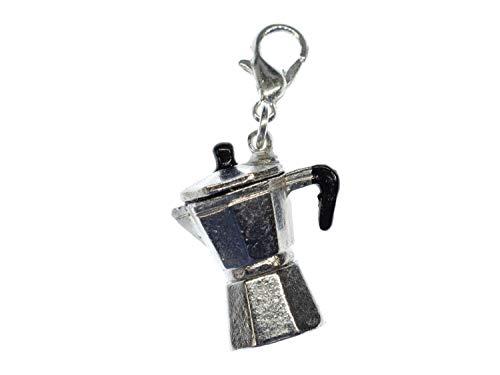 Miniblings Espresso Kanne Kaffeekanne Charm Mokka Kaffeemaschine Espressokanne - Handmade Modeschmuck I Kettenanhänger versilbert - Bettelanhänger Bettelarmband - Anhänger für Armband