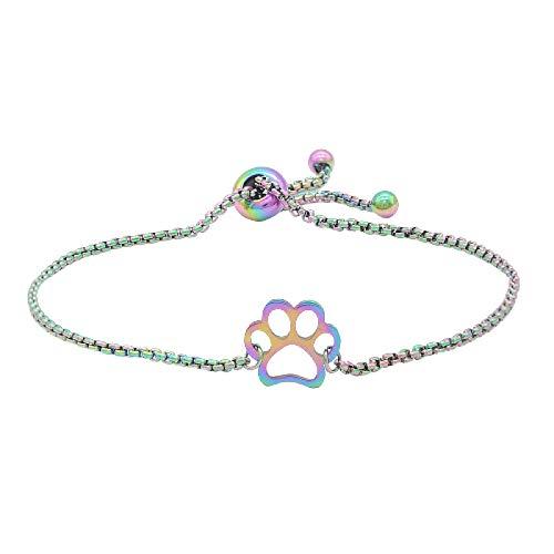 siqiwl Bracelet Stainless Steel Rainbow Colorful Dog Paw Charm Bracelets for Women Dainty Bracelets JN649-1