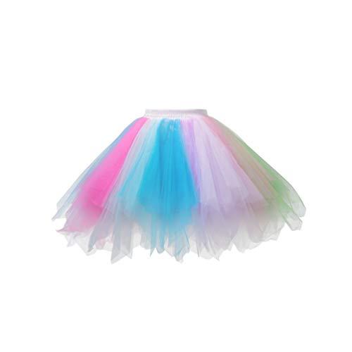 TENDYCOCO Frauen Ballettröckchenrock Bunte Rüsche überlagerte Prinzessin Tüllkleid für Ballettleistungskostüm