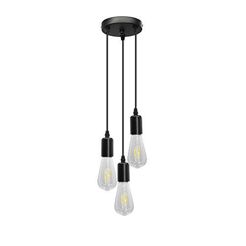 BYX Loft - Soporte de luz colgante vintage con 3 lámparas, cable negro, luz colgante para cocina, bar, restaurante, café, lámpara colgante de techo de 220 V (ajuste de cable de 1 m)