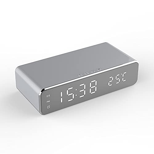 Hand Drums Reloj Despertador LED de Carga inalámbrica, sin tictac LED Big Speaker Smart Radio Relojes de Noche con Tiempo Automático Temperatura para iPhone Android Teléfono