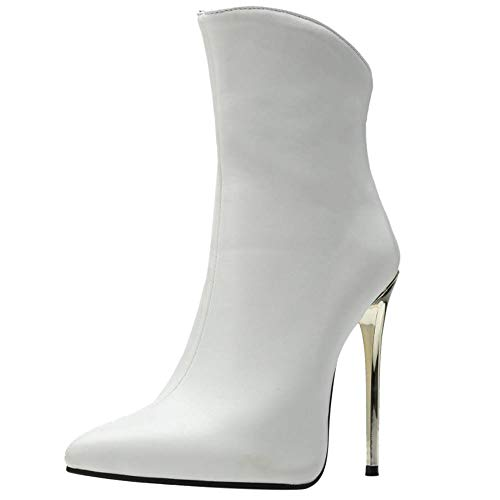 RAZAMAZA Mujer Elegante Tacón Alto Botas Occidental Cremallera Stiletto Botas de Tobillo Vestido White Size 41 Asian