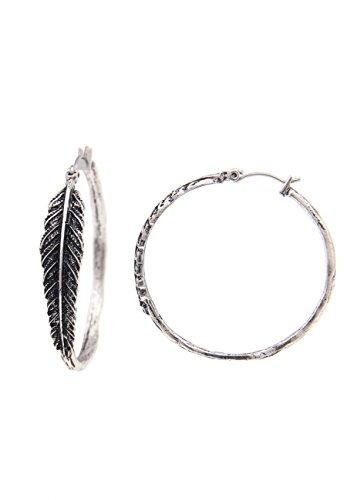 Leslii Damenohrringe Creolen Feder-Look Federschmuck Ohrschmuck Modeschmuck aus Metalllegierung Ø 4cm in Silber
