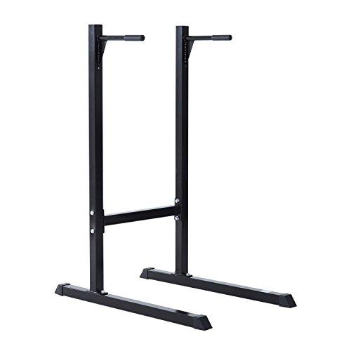 HOMCOM Estación Dip de Musculación Tipo Barras Soporte para Entrenar Pecho Abdominales y Espalda con Peso Máximo de 120kg