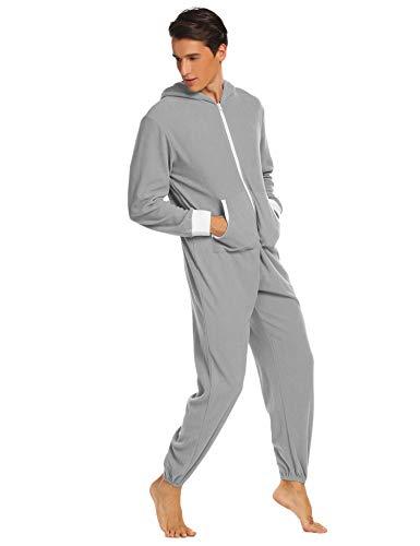 Jumpsuit Herren Schlafoveralls Jogging Anzug mit Kapuze Trainingsanzug Overall Einteiler Schlafanzug Langarm Pyjama mit Kapuze für Männer Grau XL