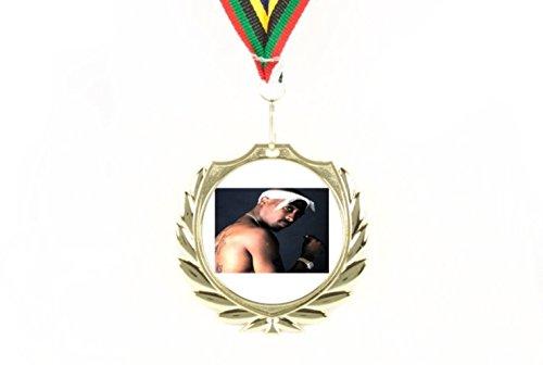 Hervorragendes 2Pac Tupac Shakur Topless White Bandana Gold Rolex hält eine Zigarette Hip Hop Rap Surprise A Winner Olympic Color Fans Sammlerstück, tragbar & Wandaufhängung Goldmedaille
