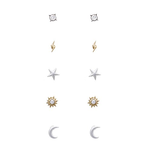 Rosemarie Collections Women's 5 Pairs Hypoallergenic Trendy Small Stud Earring Set (Celestial)
