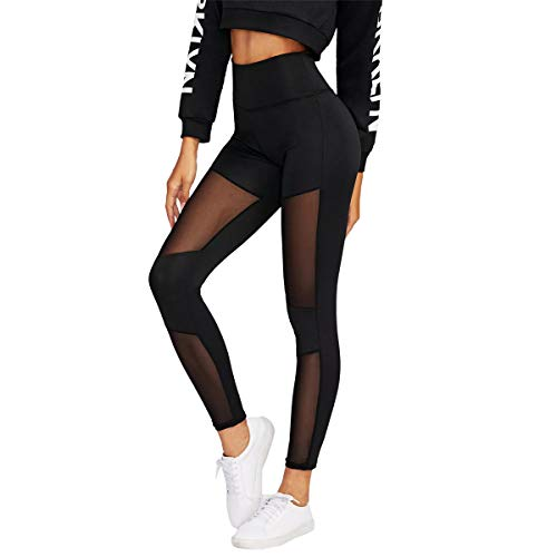 DIDK Damen Tech Mesh Sport Yoga Pants Leggings Schwarz Farbe #351 S