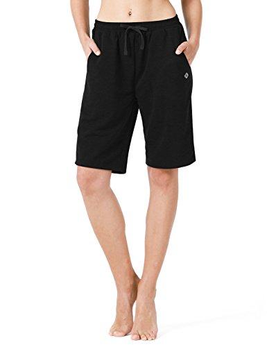 Naviskin Women's Bermuda Shorts Workout Athletic Yoga Shorts with Pockets Knee Length for Fitness Walking Gym Homework Black Size S