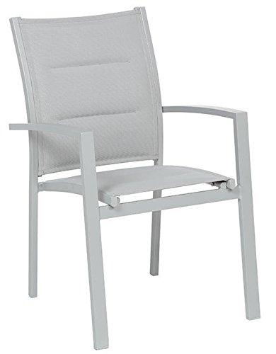 PEGANE Fauteuil de Jardin en Aluminium Coloris Silver Mat - Dim : L 62 x P 56 x H 90 cm