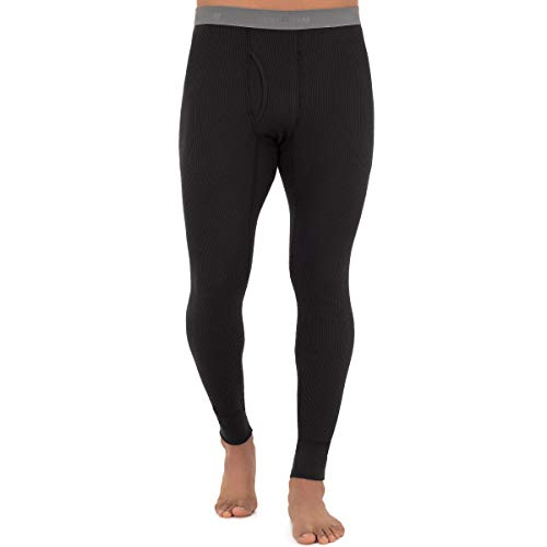 Fruit of the Loom Men's Recycled Premium Waffle Thermal Underwear Long Johns Bottom (1, 2, 3, and 4 Packs), Black, Large