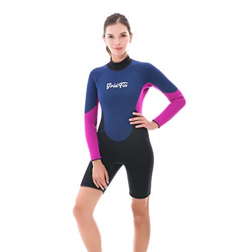 GoldFin - Traje de neopreno para mujer, 3 mm, traje de neopreno corto, manga larga, trajes de buceo, cremallera en la espalda, para natación, surf, kayak, esnórquel (azul marino, talla S)