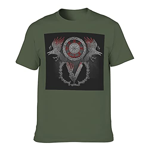 Herren Viking Ragnar Raven Cotton T Shirt Mode Top Army Green XL