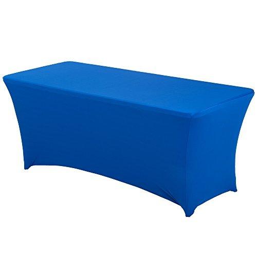 HAORUI Spandex Stretch Lycra Table de 183cm Couverture de Tissu rectangulaire Table à chevalets Banquet de Mariage(183×76×76cm Bleu Royal)
